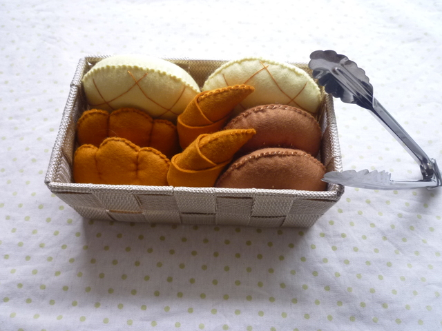 <再販12>パン屋さん☆布籠☆トング付き