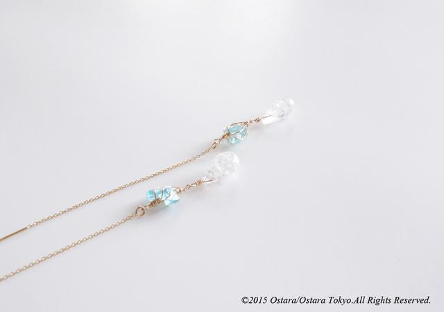 ��14KGF��Ear Thread Earrings, Crack Crystal, Blue Apatite