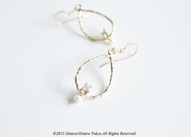 【14KGF】Earrings,CZ Teardrop Pearl