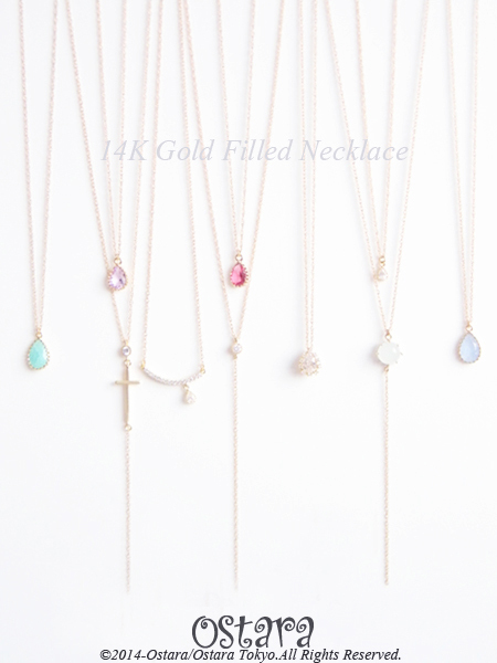 【14KGF】Necklace,16KGP Galactic Glass -Ice Blue-