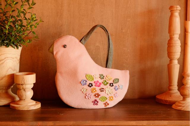 鳥さんトートバッグ  ベビーピンク