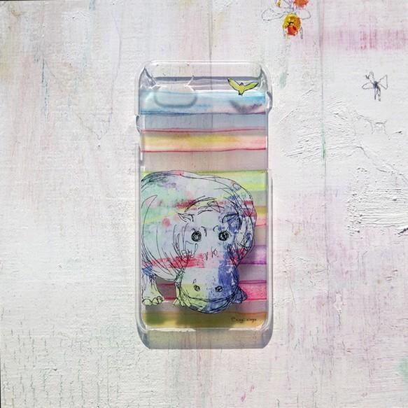 やさしいカバ(ボーダー) iPhone case(6)