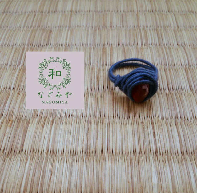 10号 天然石ワイヤーリング 【ブルー×カーネリアン 】