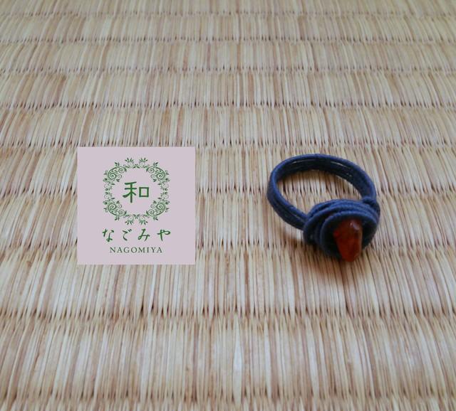 13号 天然石ワイヤーリング 【ブルー×カーネリアン】