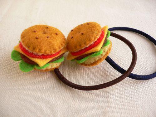 小さなハンバーガーのヘアゴム【2個】