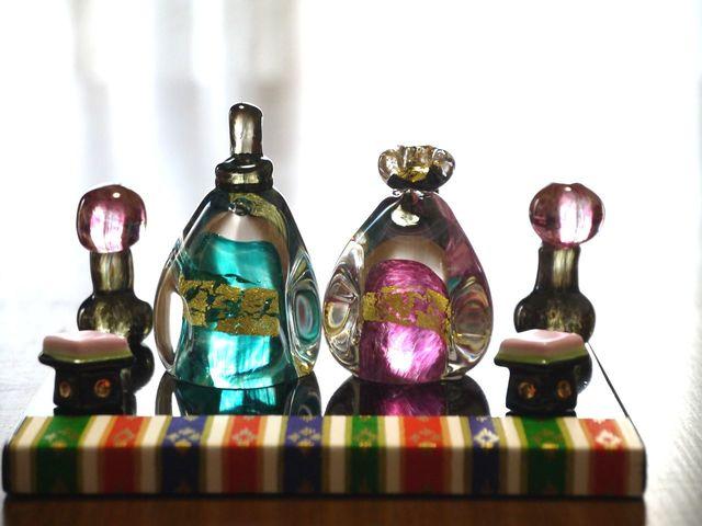 【mama1024さまご予約品】ガラスのペンギンお雛様(ターコイズブルー&ピンク)
