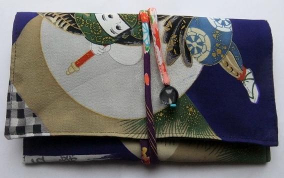 着物リメイク 男の子の着物で作った和風財布 1019