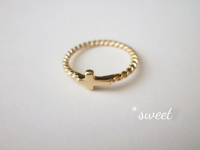 【再々々販】大人なcross twist ring*ゴールド/ファランジリング/シンプル/
