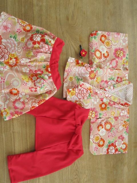 emiko1131様オーダー品 80cm 着物&袴もどき&スカート、髪飾り