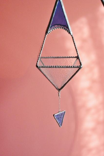 ステンドグラスの吊り下げテラリウム(ブルー)