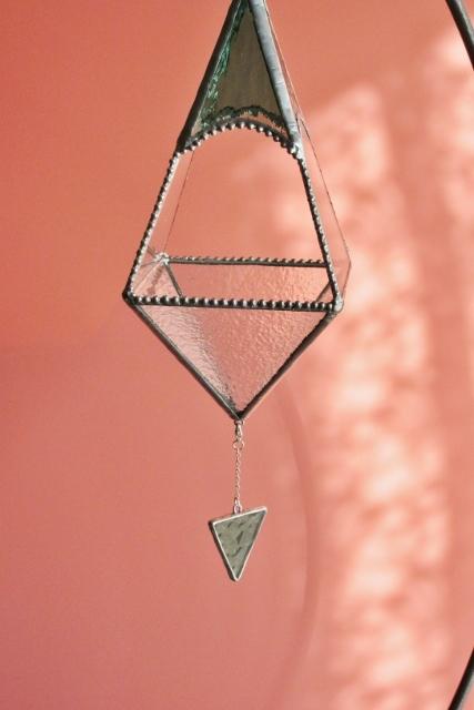 ステンドグラスの吊り下げテラリウム(グリーン)