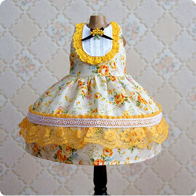 【ドール用】黄色い薔薇の袖無しワンピース