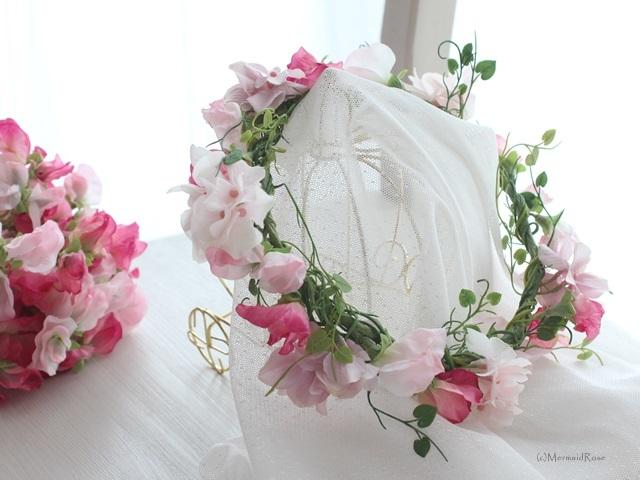 花冠スイトピーと紫陽花*スウィートピンク