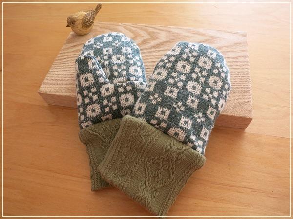 green* ぬっくぬくミトン手袋 kids-Ssize