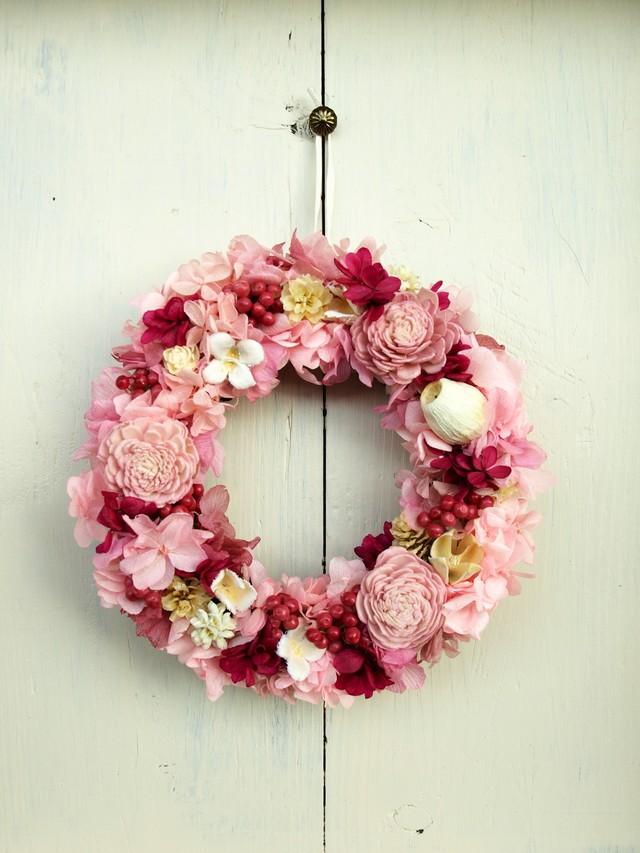 ピンク&マゼンタのミックスリース