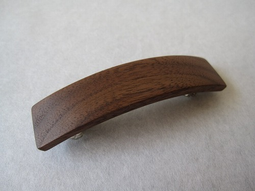 木のバレッタ ウォールナット S-2
