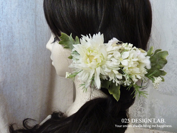 お花の髪飾 / バレッタ(ホワイト)
