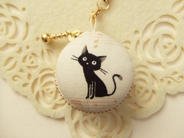 【リクエスト】黒猫・音符A/マカロンコインケース4cm(マカロンポーチ)ストラップ付