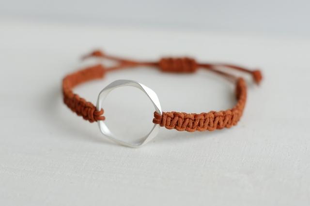 再販:レザーブレスレット*orange×silver