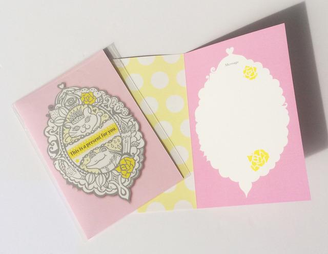 メッセージカード Cat&Frog(pink)