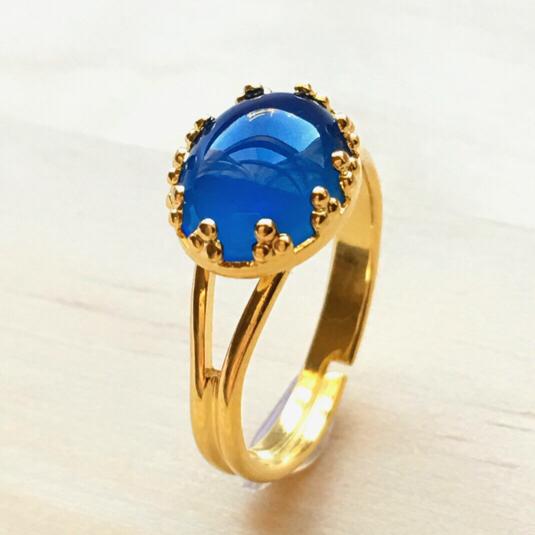 指輪   青瑪瑙ブルー メノウ リング   青い石の指輪(天然石指輪フリーサイズ)