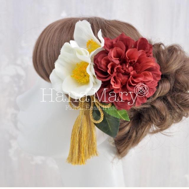 リボンタッセルつきダリアと椿の髪飾り