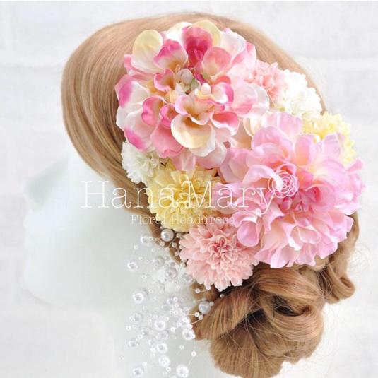 ピンクダリアの髪飾り