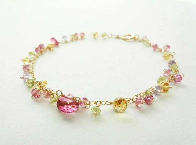 【14kgf】ピンクトパーズの春色ブレスレット