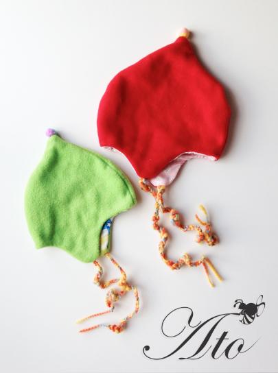 フリースと二重ガーゼのBaby帽子☆green