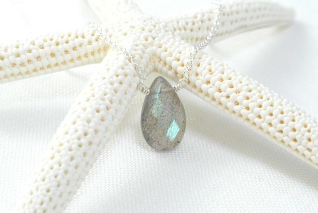 再販【silver925】ラブラドライト(ペアシェイプ)のネックレス