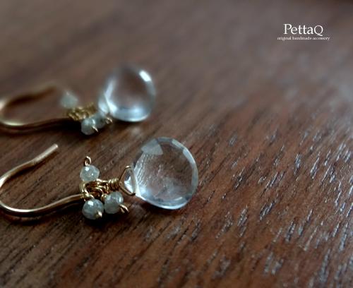 【14KGF】クォーツ・ダイヤモンドのピアス