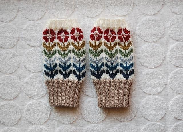 【gadgetkeibuさまリクエスト品】手編みの指なしミトン 【赤い花】