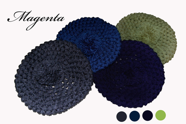 four seasons:かぎ針編みの大きめニット帽♪4色各1点