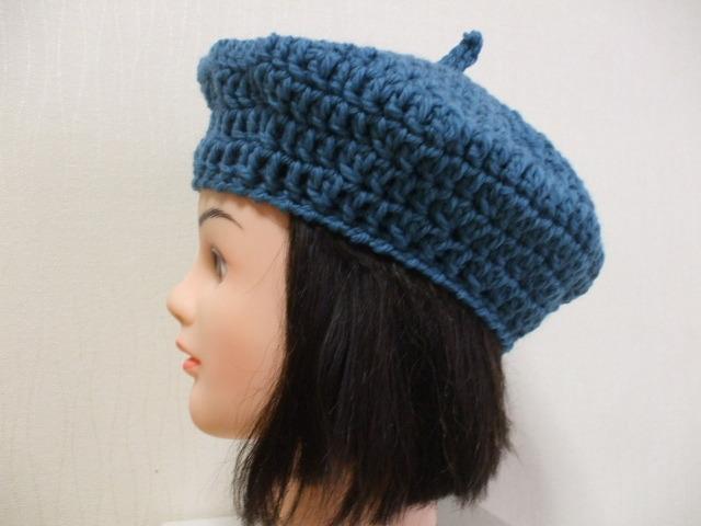 ニットベレー帽 成人女性用 鮮やかなブルー