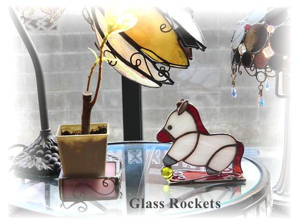 ステンドグラス干支 午「お馬のしろ♪」