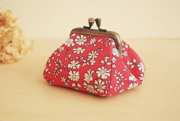 リバティ【カペル*帆布 Pink】 香箱型がま口
