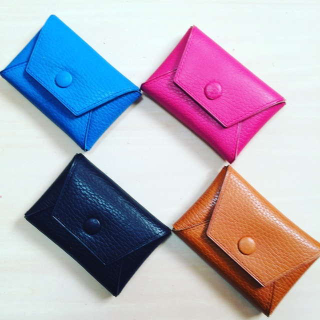 本革)コインケース/カードケース ブルー