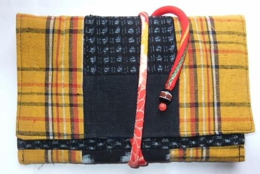着物リメイク 絣と土佐紬で作った和風財布 1034