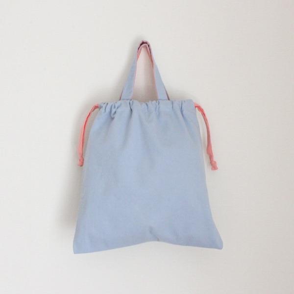 おきがえバッグ(淡いブルーデニム×濃いピンク)