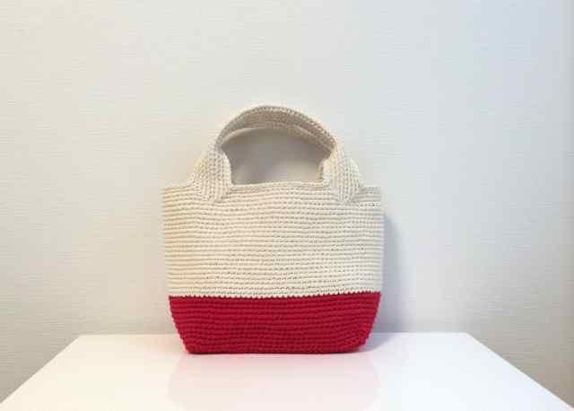 綿糸の四角いトート (RED×WHITE)