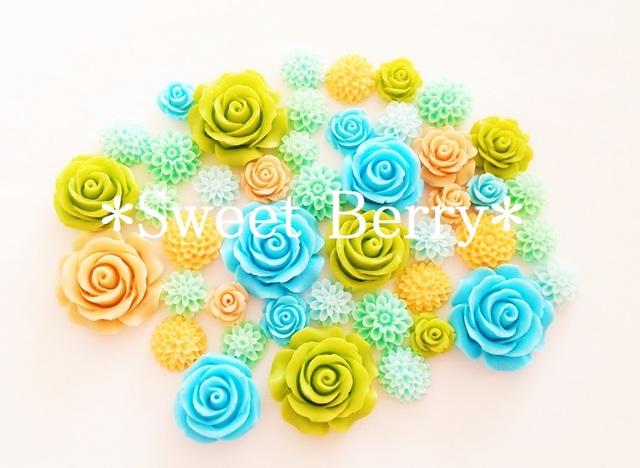 *フラワーパーツセット* 水色&黄緑系 85