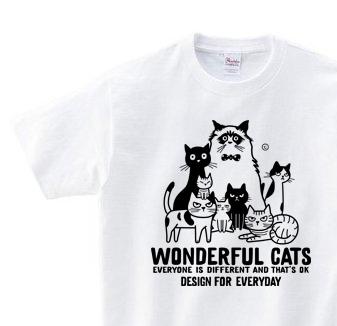 ワンダフル★キャッツ 〜ねこシリーズ〜 150.160(女性M.L) Tシャツ【受注生産品】
