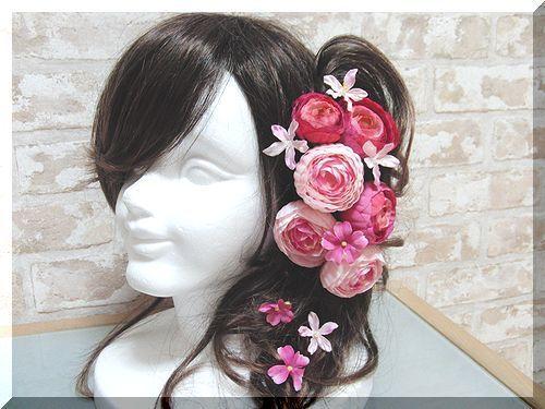 ピンクのラナンキュラスの髪飾りセット