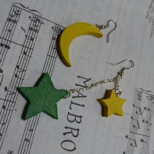 wood   月と星