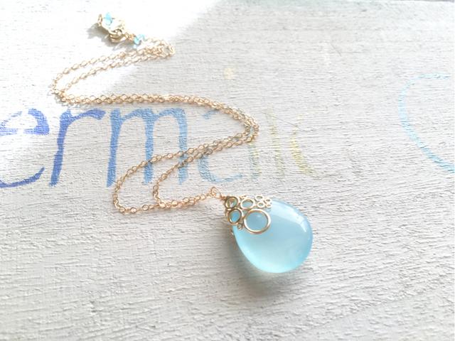 ☆再販☆ 海の泡カルセドニー ドロップ  ネックレス blue 14kgf