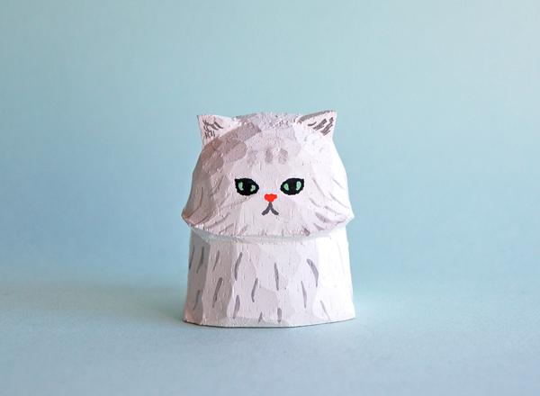 木彫り人形 ペルシャ猫 白 [MWF-155]