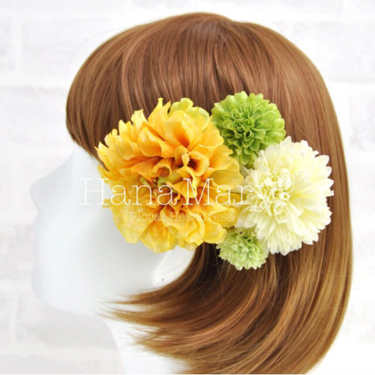 黄色ダリアの髪飾り