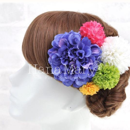 濃青ダリアのレトロモダン髪飾り