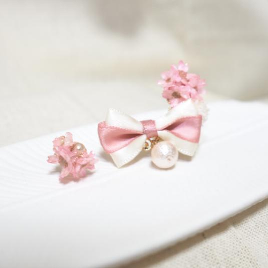 桜色のブーケ  イヤーカフセット