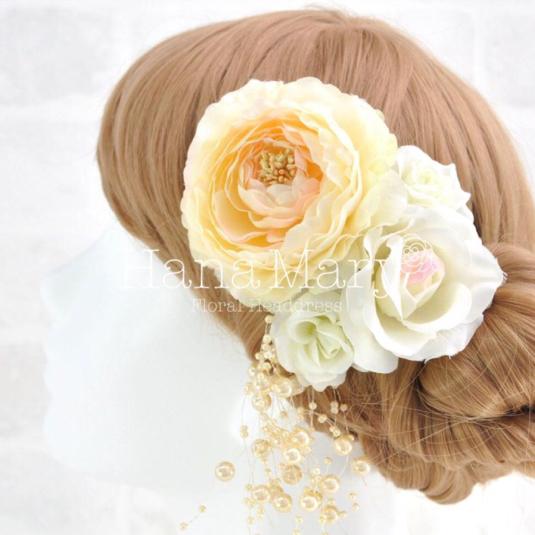 ピーチラナンキュラスとバラの髪飾り